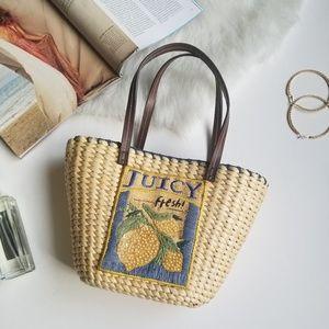 Woven Lemon Fresh Embroidered Mini Handbag